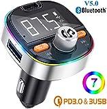 Trasmettitore FM Bluetooth per Auto QINFOX Vivavoce Bluetooth per Auto con 2 USB e PD3.0 Porte,Bass...