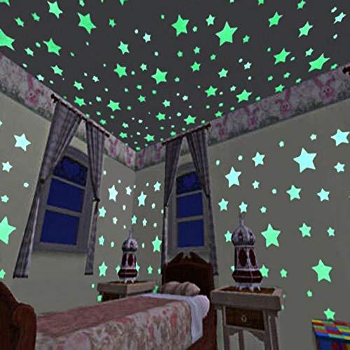 XCWQ Muursticker 100 Stks 3D Ster En Maan Energie Opslag Fluorescerende Glow In De Donkere Lichtgevende Op Muur Stickers Voor Kinderen Kamer Woonkamer