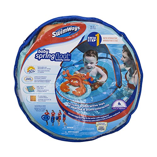 SwimWays Baby Spring Float Activity Center with Canopy - Blue/Orange Lobster