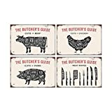 Mora color 4PCS Meat Knives Pork Chicken Beef Tin Signs The Butcher's Guide Retro Posters Bar Pub Wall Decor - 20X30cm