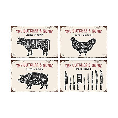 Mora color Blechschilder mit Fleischmesser, Schweinefleisch, Huhn, Rindfleisch, Blechschilder