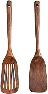 Wooden Spoons for Cooking, 2Pcs Premium Wood Turner and Spatula Set Nonstick Kitchen Wooden Utensils Housewarming Gifts fo...