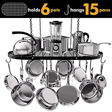 VDOMUS Pot Rack Ceiling Mount Cookware Rack Hanging Hanger Organizer with Hooks (33 x17 )