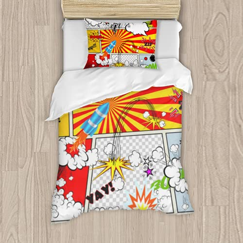 Premium Polyester bedding Set 3 Piece,set of retro comic book vector design elements speech and thought bubblessoft Comforter Matching Shams twin bed set quilt set Full 54 * 80inch