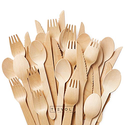 Event Eco-Friendly Biodegradable Utensils for Party Picnics Camping VIMOV 100 Pieces Disposable Wooden Cutlery Set BBQ 40 Forks, 30 Knives, 30 Spoons