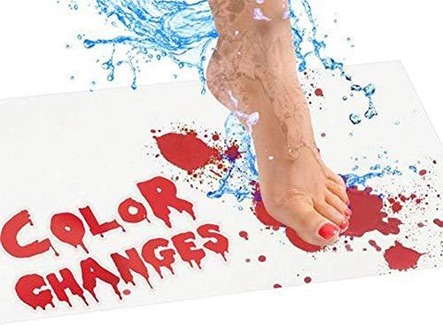 xingletu - Alfombrilla de baño con sangre, cambia de color, se vuelve roja cuando está mojada, alfombra de ducha para baño, ducha, Halloween, mejores trucos