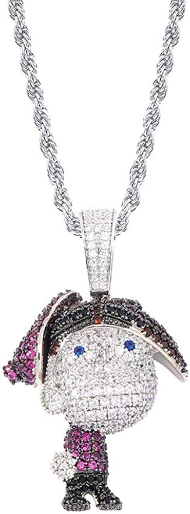 Moca Jewelry Iced Out Cartoon Pendant Necklace 18K Gold Plated Bling CZ Simulated Diamond Hip Hop Rapper Chain Necklace for Men Women