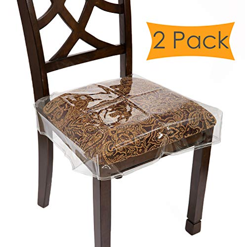 """Houseables Chair Seat Covers, Plastic Cover, Fits 16"""" – 18"""" Seats, 2 Pack, Clear, Adjustable, PVC, Waterproof Protector, Vinyl, Kids Chairs Slipcover, for Dining Room, Kitchen, Cushion, with Straps"""