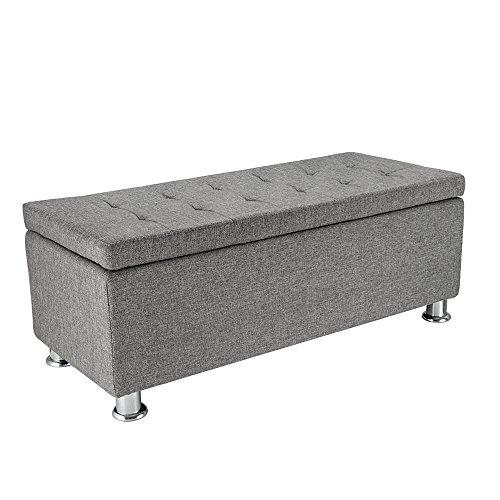 Panana Regalsystem Sitzhocker 102 x 42 x 46 cm, Sitzcube als Fußablage, aus Leinen, belastbar bis 300 kg Aufbewahrungsbox – Grau - 5