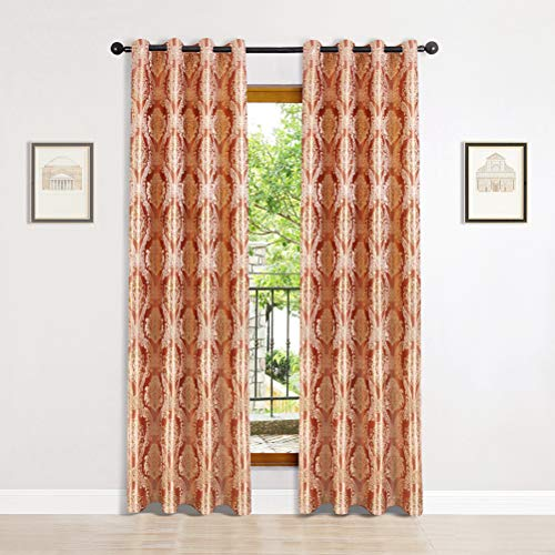 """Jacquard Luxury Curtains Panels Window Curtains for Living Room Bedroom Curtains,Grommet Top, Pack of 2 (Damask-Coffee, 52"""" W x 84"""" L)-2 Tie Back Included"""
