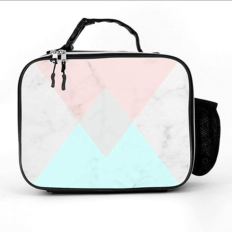 Pink And Blue Triangle Marble Pattern Insulated Neoprene Lunch Bag Thermal Carrying Gourmet Lunch Box Containers For Women Men Teen Girls Boys Kids