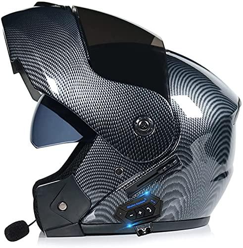Motorcykelhjälm Modulhjälm Bluetooth-integrerad modulär, vikbar motorcykelhjälm med hel ansikte fram DOT/ECE-godkänd modulär kraschhjälm S-XL för fyra säsonger för motorcyklar LIOYUHGTFY 7