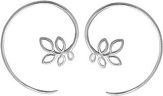 Boma Jewelry Sterling Silver Leaf Pull Through Hoop Earrings