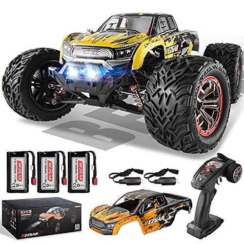 BEZGAR 9 Hobby Grade 1:12 Scale RC Trucks, 4WD High Speed 45 Km/h All Terrains Electric Toy Off Road RC Monster Truck Vehicle Car with Rechargeable Battery for Boys and Adults