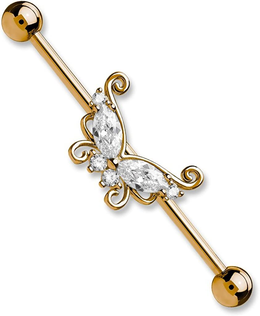 Dynamique 14GA Marquise and Round CZ Butterfly 316L Stainless Steel Industrial Barbell