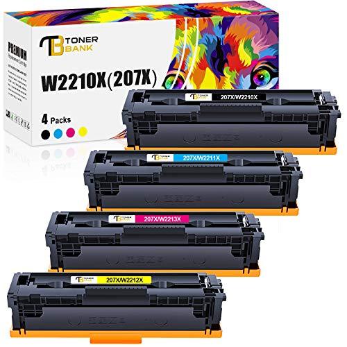 Toner Bank Kompatibel Tonerkartusche als Ersatz für HP 207X 207A W2210X W2210A W2211X W2212X W2213X HP Color Laserjet Pro MFP M283fdw M282nw M283fdn M255dw M255nw(Schwarz,Cyan,Gelb,Magenta, 4er-Pack)