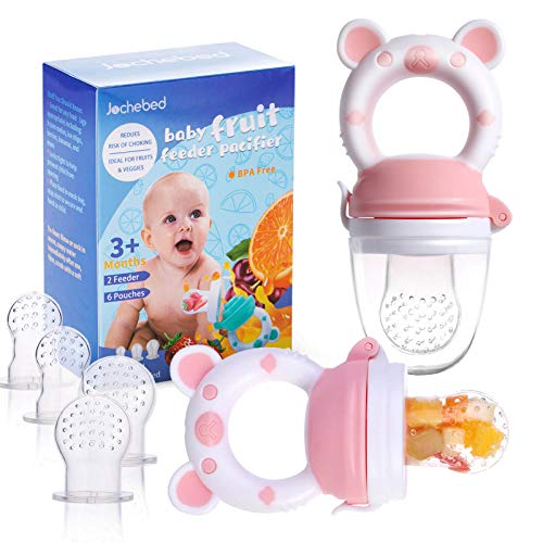 Baby Fruit Food Feeder Pacifier - Fresh Food Feeder, Infant Fruit Teething Teether Toy for 3-24 Months, 6 Pcs Silicone Pouches for Toddlers & Kids & Babies, 2-Pack (Light Pink)