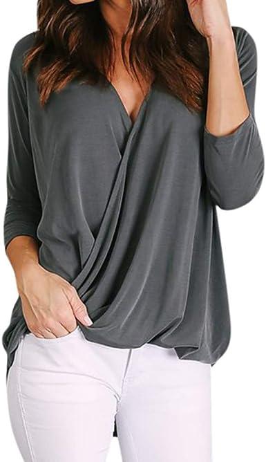 Camisa de Mujer Moda Casual de Mujer Sencillos Blusa Blusas ...