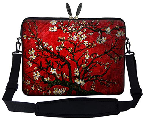 Meffort Inc 17 17.3 inch Neoprene Laptop Sleeve Bag Carrying Case with Hidden Handle and Adjustable Shoulder Strap - Vincent van Gogh Cherry Blossoming