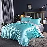 Juegos de sábanas y fundas de almohada,Sábana de seda de cuatro piezas de seda de color sólido sábana funda de edredón de verano ropa de cama cómoda juego de edredón de cama-Aguamarina_Cama de 1.2m 1