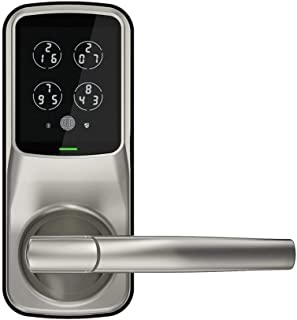 Lockly Secure Pro Latch Edition | Bluetooth Fingerprint WiFi Keyless Entry Smart Door Lock (PGD628W) Secure Keypad | 3D Fingerprint Reader | iOS Android Compatible (Latch, Satin Nickel)