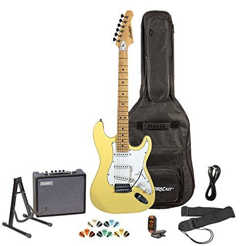 Sawtooth Citron Vanilla Cream Electric Guitar w/White Pickguard - Includes: Accessories, Amp, Gig Bag & Lesson