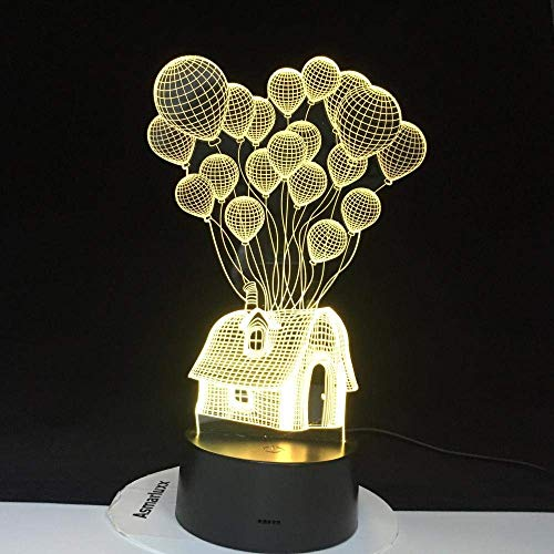 3D Illusionslampe Führte Nachtlicht Ballon Hausform Visuell Festival Dekor S Acryl Multicolor Für Innen
