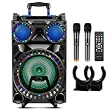 Aaurora 10'' Bluetooth Karaoke Machine for Adults & Kids Wireless PA System with 10 Subwoofers, 2 UHF Wireless Mics, 2 MIC Hooks Colorful LED Party Gathering Lights, Ideal for Christmas Gifts