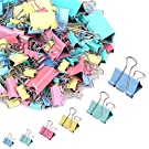 188 Pcs Binder Clips Paper Clamps Assorted 6 Sizes, Paper Binder Clips Metal Fold Back Clips with Box for Office,School and Home Supplies,Assorted Colors