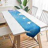 Free Brand Camino de mesa de 228,6 x 33 cm, universo espacial azul con diseño de estrellas nubes, decoración de mesa para bodas, diseño de mantel, decoraciones al aire libre picnics mesa de comedor