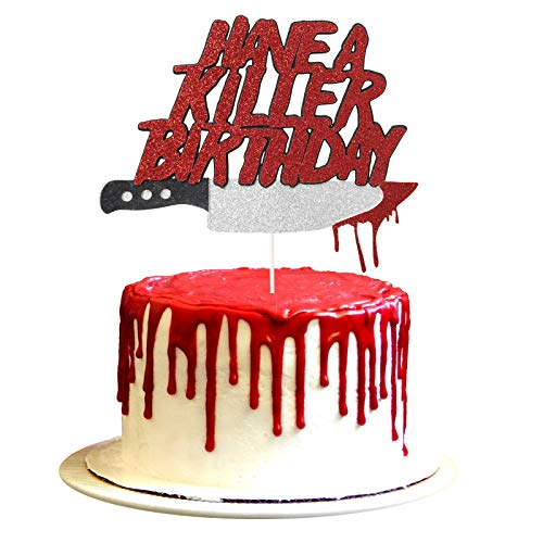 Have a Killer Birthday Cake Topper, Friday the 13th Birthday Party Cake Topper, Halloween Horror Birthday Party Decorations, Halloween Zombie Vampire Party Decorations Supplies