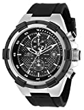 Invicta Men's Aviator Stainless Steel Quartz Silicone Strap, Black, 26 Casual Watch (Model: 28095)