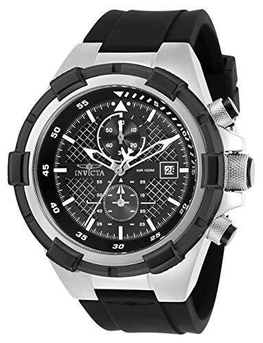 Invicta Men's Aviator Stainless Steel Quartz Silicone Strap, Black, 26 Casual Watch (Model: 28095)