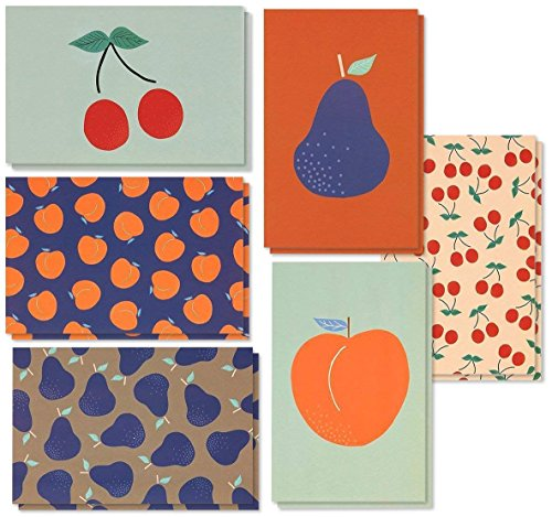 48 Pack All Occasion Assorted Blank Note Cards Greeting Cards Bulk Box Set - 6 Colorful Fruit Designs Cherries, Pears, Peaches Notecards with Envelopes Included - 4 x 6 Inches