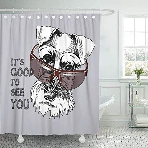 N / A Animales Grises Schnauzer Barba Canino Dibujos Animados Perros Lindos Tela De PoliéSter Impermeable Juego De Cortina De Ducha con Ganchos-W150xH180cm
