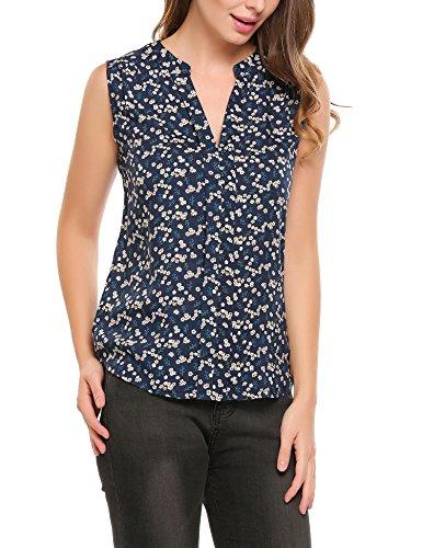 Parabler Damen Sommer Bluse mit allover Blumenprint Beiläufig Locker Casual Bluse Hemd Blusenshirt Klassic Ärmelloses