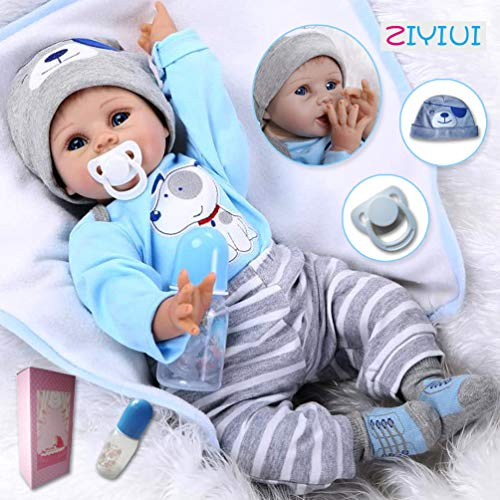 ZIYIUI DOLL Muñecos Bebé Reborn Niño Realista 22 inch 55cm Recién Nacido Silicona Suave