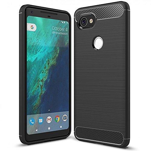 NALIA Hülle kompatibel mit Google Pixel 2 XL, Ultra-Slim Silikon Hülle Cover, Dünne Crystal Phone Schutzhülle, Stoßfeste Handyhülle Etui Handy-Tasche Backcover Bumper, TPU Gummihülle - Schwarz