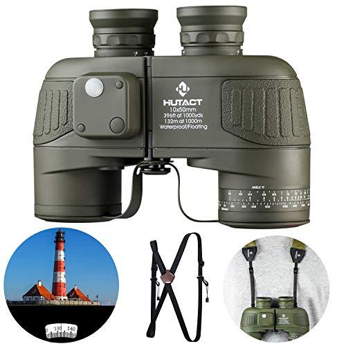 HUTACT 10x50 Militär Fernglas Kompakt, Gut für Vogelbeobachtung, Eingebauter Kompass und Entfernungsmesser, Großes Sichtfeld, BAK4 Prisma, FMC Objektiv Geeignet für Jagd, Langlauf und Reisen