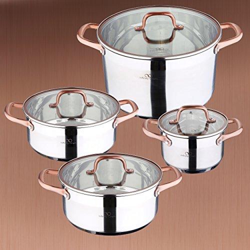 INFINITY chefs: Set de 2casseroles: Ø20x 8(2,3l) et Ø24x 10,5(4,5l) cm; Cocottes: Ø16x 10(1,8l) et Ø28x 16,5(9,5l) cm, induction, couvercle en verre, acier inoxydable