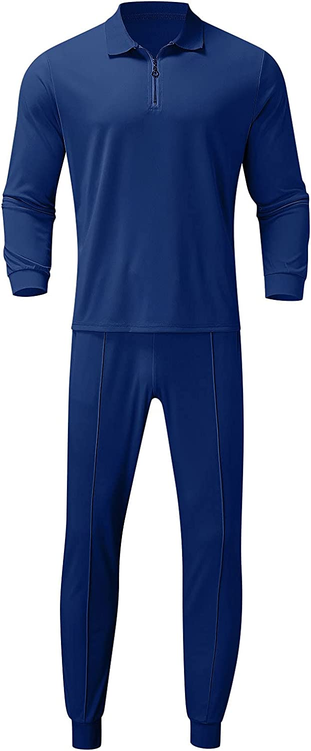 FUNEY Men's 2 Piece Outfits Long Sleeve Polo Shirt Sets Zipper Casual Slim Fit Tops and Strench Joggers Pants Tracksuit