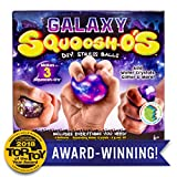 Galaxy Squoosh-O'S D.I.Y. Stress Ball by Horizon Group USA, Make 3 Squeezing DIY Stress Relief Balls, Water Beads & Glitter Included, Purple & Blue