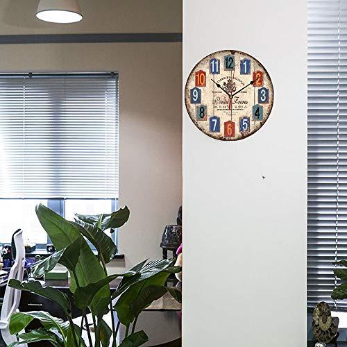 Reloj Pared de Madera de la Vendimia,30cm Reloj Numérico Grande de Madera...