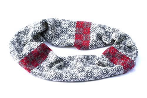 grauer und roter Unendlichkeitsschal stricken fairer Inselschal grauer Wollschal grauer Schleifenschal Herbstschal Shetland Wollschal Winterdamenschal