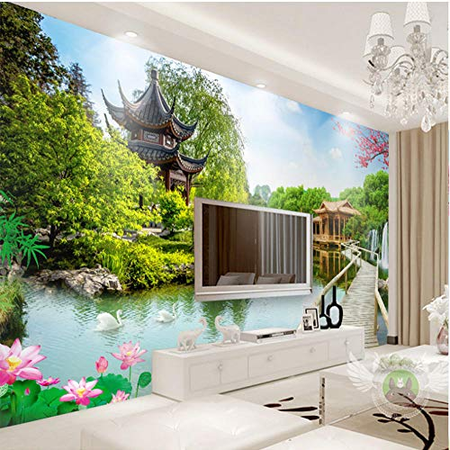 Pbbzl muur doek klassieke 3D Water maken landschap schilderijen foto grote muurschildering behang woonkamer slaapkamer muur huisdecoratie 3D 250 x 175 cm.