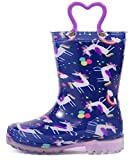OUTEE Toddler Girls Rain Boots Little Kids Baby Waterproof Mud Insulated Shoes Lightweight Outdoor Puddle Rubber Boots Adorable Printed with Easy-On Handles Non Slip unicorn purple size 9