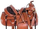 Wonder Wish Selle de randonnée Confortable en Cuir de qualité supérieure sculpté à la Main pour Cheval Occidental