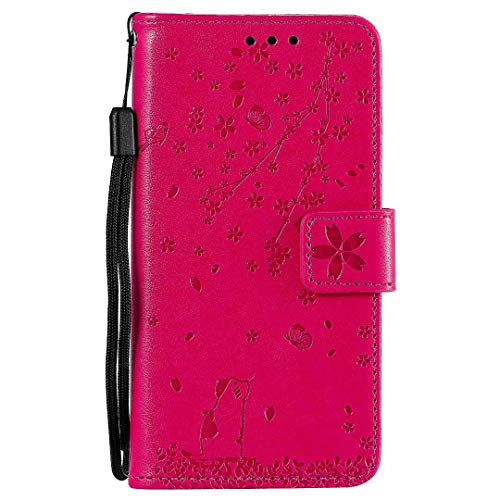 WVYMX Compatible with Moto G7 Power Case, PU Leather Flip Wallet Case with Viewing Stand/Card Slots Flower Cat Embossed Pattern Design Cover for Moto G7 Power Rose