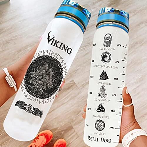 Hothotvery Botella de agua deportiva impresa vikinga con el árbol de la vida celta y nudos marcadores de nudos, sin BPA, 1 l, a prueba de fugas, para fitness, color blanco, 1000 ml