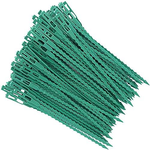 Lohofrnny Alambre de jardín Verde, 100 Piezas Plástico Jardinería Bridas Ajustables Plantas Verdes, para Soporte de Arbustos de Plantas de Árboles de Jardinería